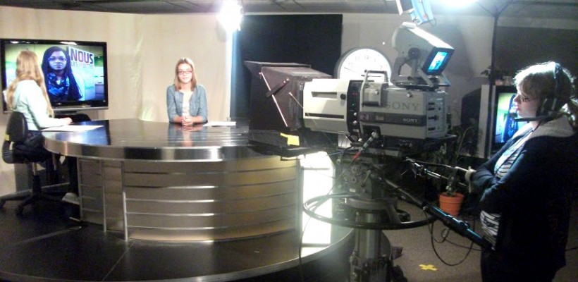 HDCH records a news broadcast at the Montreal CBC.