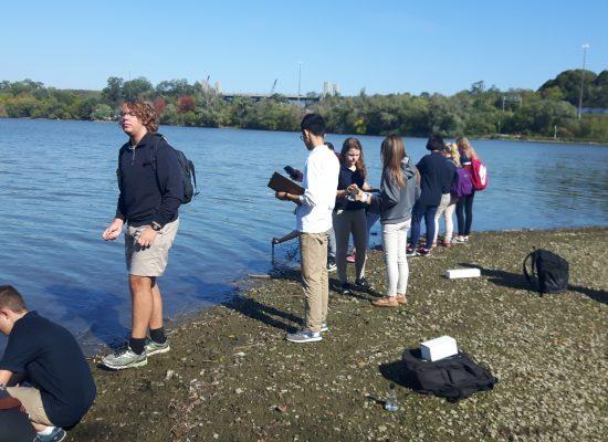 Hamilton District christian high students study water of Tiffany Creek