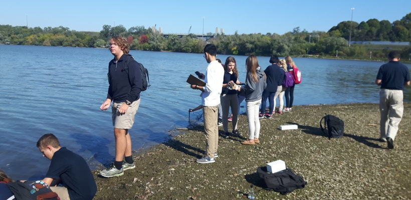 Hamilton District christian high students study water of Tiffany Creek